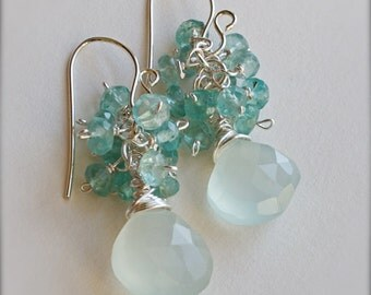 Crystal Clear Waterfall Earrings of Blue Green Apatite and Watery Blue Chalcedony