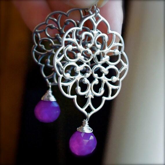 Chandelier Earrings-Filigree Crest Drop Earrings with Vibrant Violet Chalcedony-Bridesmaid Earrings
