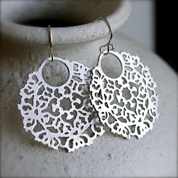 Dangle Earrings-Bohemian Silver Earrings-Lace-Fashion