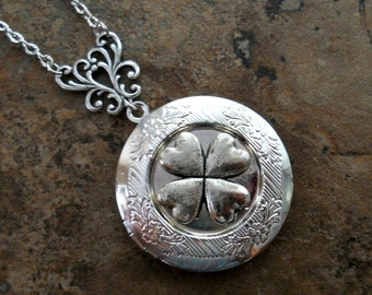 Shamrock Locket, Irish Clover Leaf Locket, Irish Locket, Silver Locket, Shamrock, Four Leaf Clover