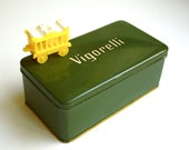 RESERVED FOR TERRY Vintage Olive Green Tin - Vigorelli Sewing Machine