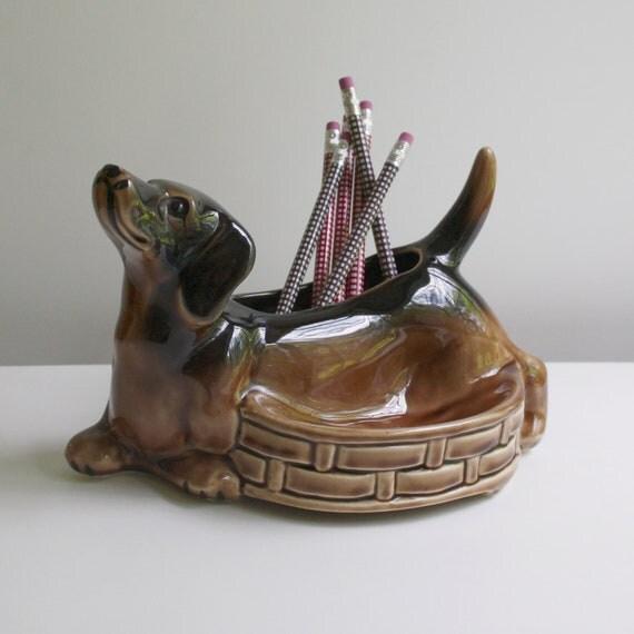 Vintage Dachshund Ceramic Desk Accessory