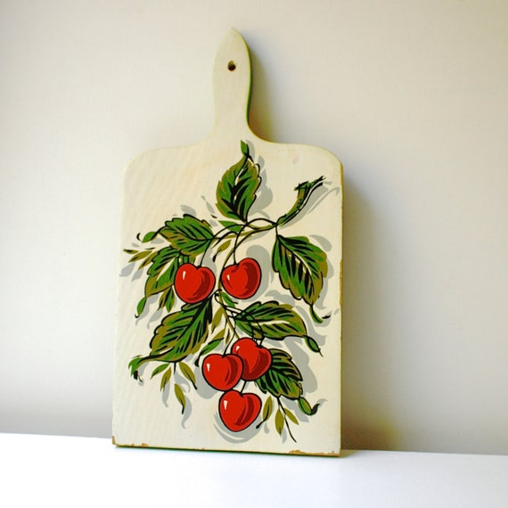 Vintage Cutting Board with Cherries