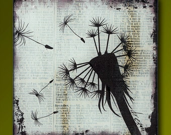 Dandelion Dream Handmade Glass and Wood Wall Blox from Upcycled Dictionary page book art - WilD WorDz - Dandilion 2 of 4 Dream