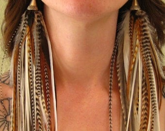 Warrior Princess Light Natural Feather Earrings by Bird Crap Featherwear