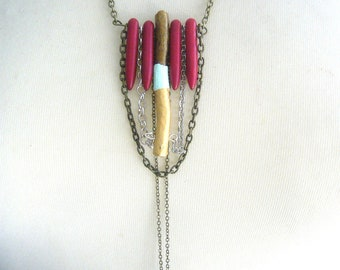 Tribal necklace in red, gold and teal