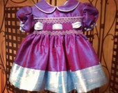 Blue Silk Pageant Dress 6 to 9 month READY TO SHIP
