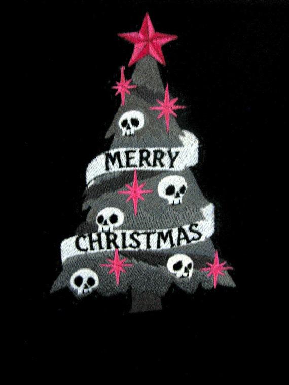 spooky goth christmas tree embroidered black fleece scarf. Black Bedroom Furniture Sets. Home Design Ideas