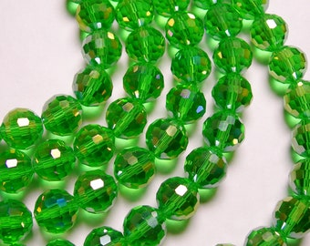 Crystal - round faceted 12mm beads - 20 pcs - AA quality - vivid green