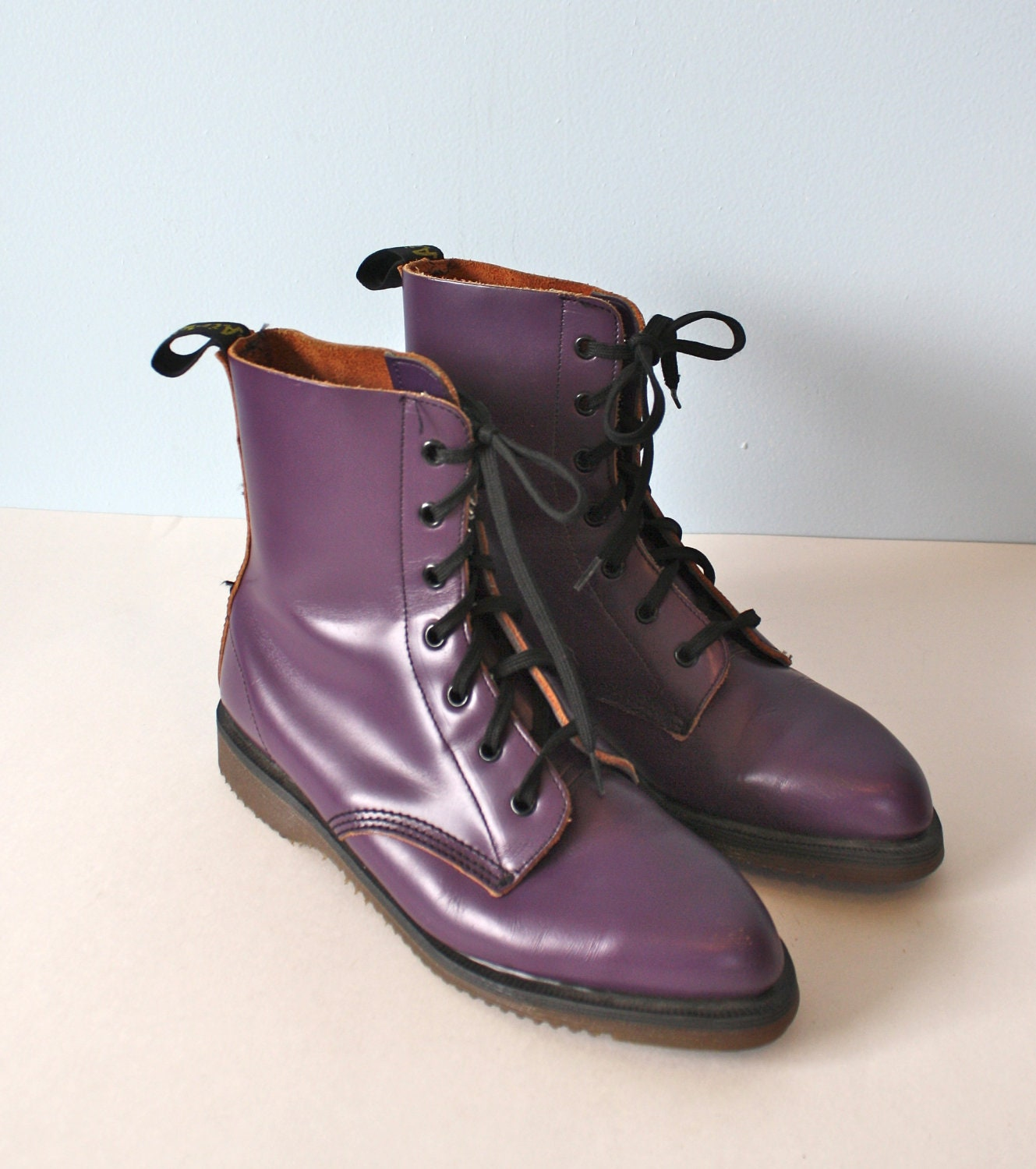 vintage purple doc martens ankle boots made in
