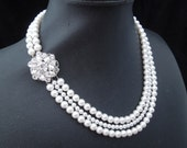Pearl Necklace, Bridal Pearl Necklace, White Swarovski Pearls, Vintage Style, Statement Necklace, Rhinestone Necklace, NATALEE