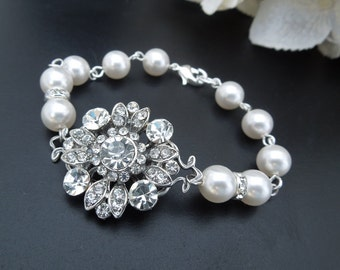 pearl and rhinestone Bracelet Statement Bridal Bracelet Bridal Cuff Wedding Rhinestone Bracelet swarovski pearl and crystal bracelet COLLEEN