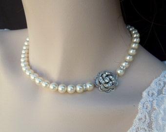 Pearl necklace,Bridal Necklace,Pearl Bridal Necklace,Pearl Rhinestone Necklace,Statement Bridal Necklace,Bridal Jewelry,Rose,Pearl,ROSELANI