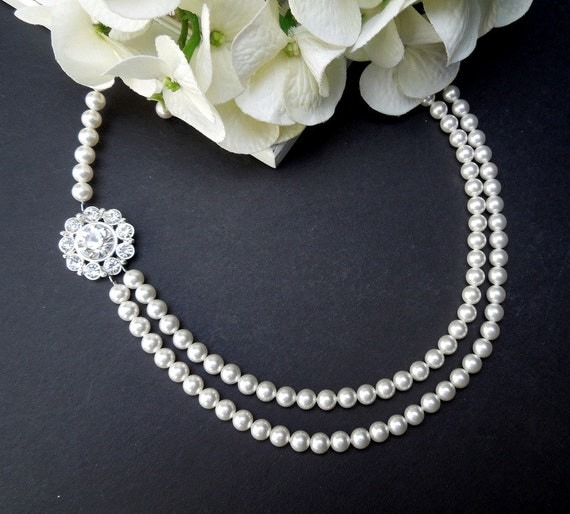Pearl Necklace,Pearl Bridal Necklace,Ivory or White Pearls,Bridal Rhinestone Necklace,Wedding Necklace,Statement Bridal Necklace, GERALDINE