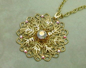 Filigree Snowflake Gold Necklace with Sparkling Swarovski Crystals