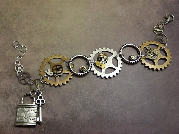 Steampunk Gear Bracelet with Watch Parts, Gear, Key, Padlock Charms Mixed Metals