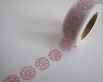 Washi Tape-Masking Tape-Single Roll- Light Pink and White Button Tape