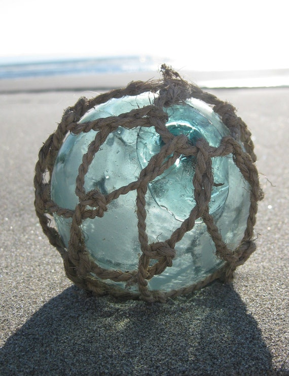 Japanese Glass Fishing Float - Very Old Original Net, Baseball Size, Alaska Beachcombed