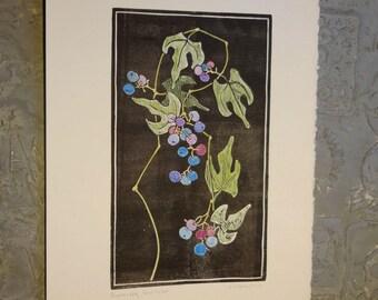 Porcelain Berry Hand Tinted Block Print