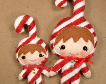 SALE-PDF-ePattern-Candy Cane Elf Plushie Ornament, Brooch and Pendant, Plushie, Hand sewn doll, Christmas Ornament