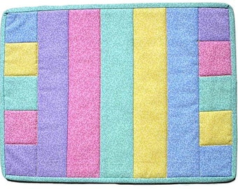 Perfectly Pastel Mug Rug, handmade table mat mini quilt, quilted mug rug, A