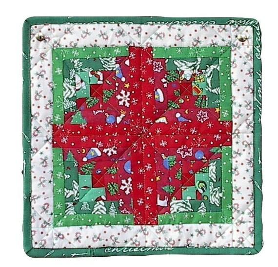 Christmas mug rug handmade ooak table mat mini quilt log