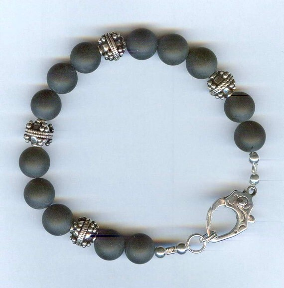 Mens / Unisex Bracelet MATTE Black Onyx & Bali Beads with Handmade Bali Silver Lobster Claw Clasp