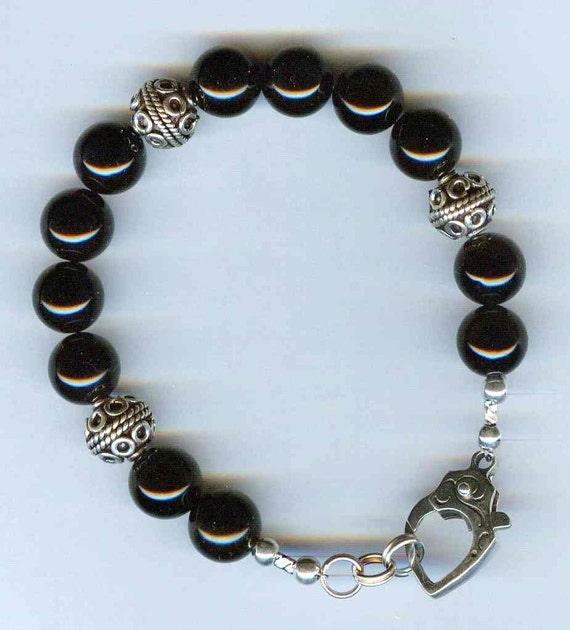 Mens / Unisex Bracelet Black Onyx & Bali Beads and Handmade Bali Silver Lobster Claw Clasp