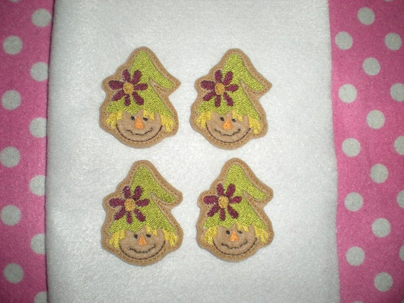 Ready to Ship) Machine Embroidered Hand made (4) Felt Scarecrow Embellishments / appliques