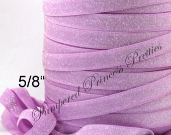 """5yd-Glitter Elastic-Frosted-Pearl Lavender-5/8"""""""