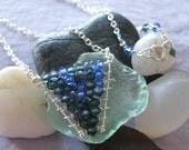 Sapphire Bead & Swarovski Crystal Necklace : September Birthstone