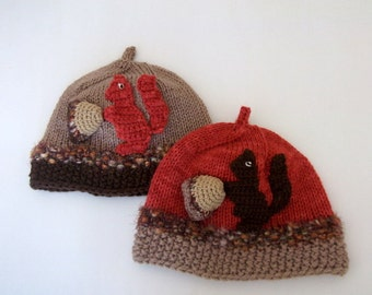 Knitting Acorn Hat -Baby  Hat  - for Baby or Toddler-baby boy costume-Your choice of color