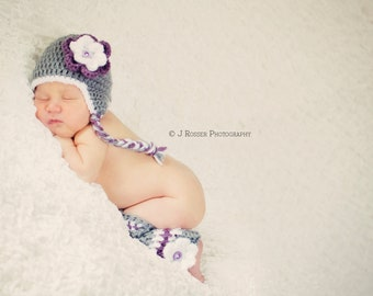 Customize Newborn Hat and Legwarmers Photo Prop Set