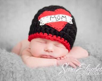 Love Mom Beanie/ Tattoo Beanie/ Baby Boy Beanie/ Valentine's Day Newborn Hat/ Black and Red Beanie/ Baby Shower Gift