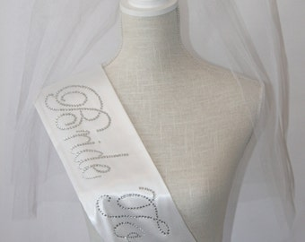 SUMMER BRIDE Special - Bride To Be- Bachelorette Sash - Black or  White Only - Wedding Shower Satin Sash