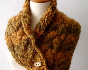 Chunky Scarf Cowl Shoulder Warmer Handknit Orange/ Pumpkin and Khaki Green Cabled
