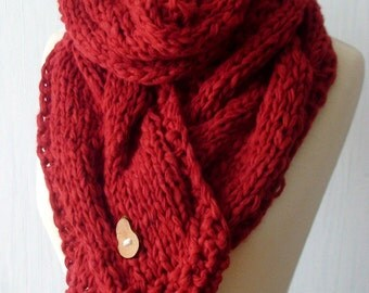 Scarf Chunky Red Big Winter Cabled Cowl Hand Knitted