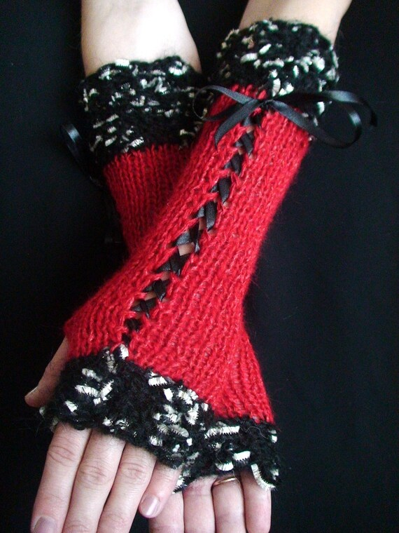 Fingerless Gloves Luxury  Red Silky Mohair Corset Arm Warmers with Silver Gold Black edges and Satin Ribbons  Victorian Style