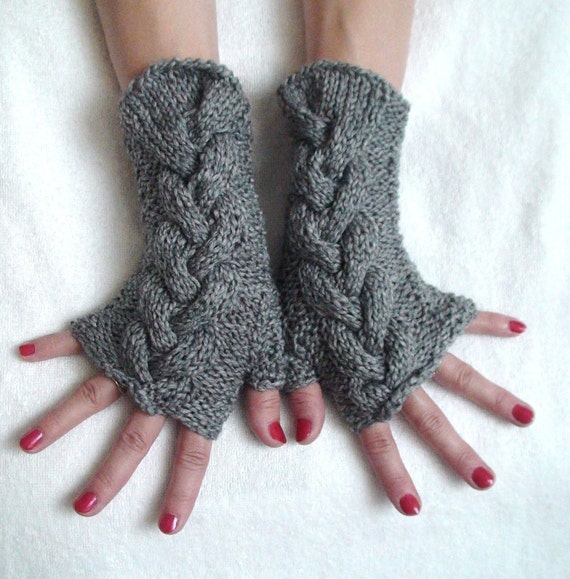 Wrist Warmers Light Grey Fingerless Gloves Cabled and Soft