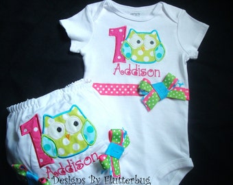 PERSONALIZED 1ST BIRTHDAY Bodysuit and Diaper Cover Bloomer Set-Owl Birthday-Smash Cake Outfit-Appliqued one and owl in hot pink green aqua