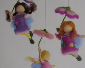 Waldorf inspired nursery mobile - Its raining day - needle felted - made to order