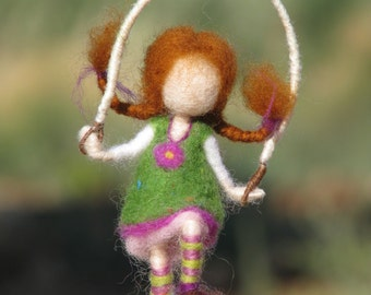 Needle felted waldorf inspired doll with jump rope