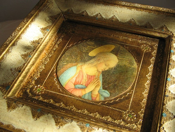 "Vintage Florentine ""Madonna in the Forest"" Wall Art by Lippi, Praying Madonna, Virgin Mary, Blessed Mother, Gilded Religous Icon Italy"
