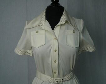 Vintage 70s Shirtdress in Cream Jersey