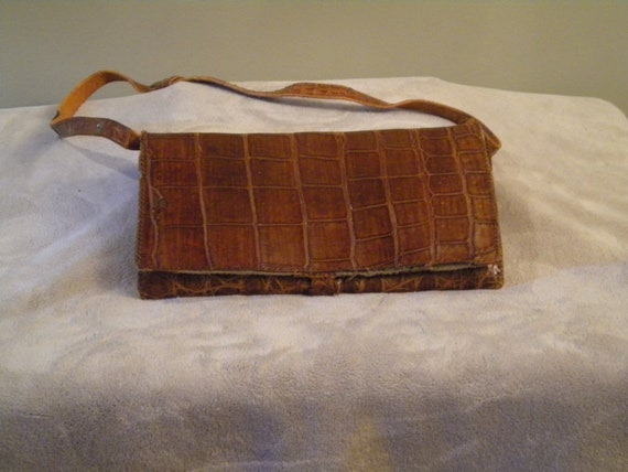 Vintage, Antique Alligator Leather Bag: Rare, As Is 30s or 40s