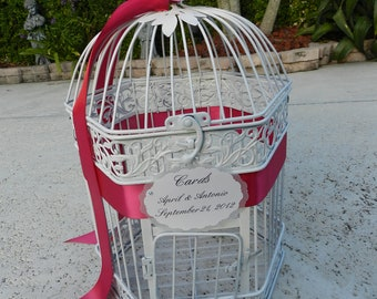 Bird Cage Card Holder with Fuschia accents