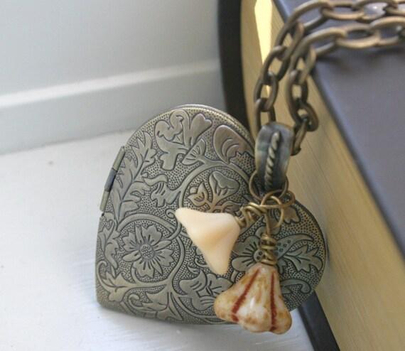 Long Bronze Heart Locket Vintage Style Shabby Chic