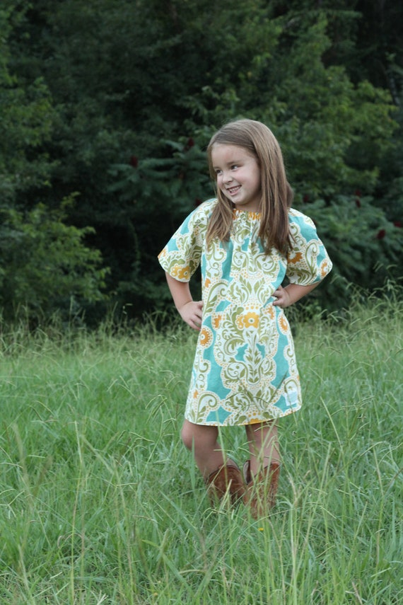 Gold Flowers in Blue Peasant Dress sizes 12 months, 18 months, 2t, 3t, 4t and 5