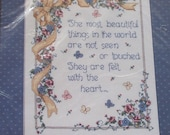 Vintage Cross Stitch Kit Bucilla Counted Cross Stitch Kit Inspirational Verse Needlework 80s