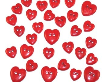 Jesse James Button Mania Creative Collection Bright Red Hearts